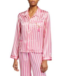 Ruthie Striped Silk Pajama Top by Morgan Lane at Neiman Marcus