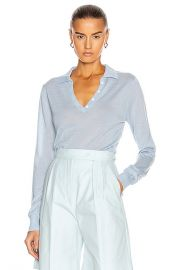 SABLYN Lexi Polo Top in Azure   FWRD at Forward