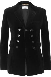 SAINT LAURENT - Cotton-velvet blazer at Net A Porter