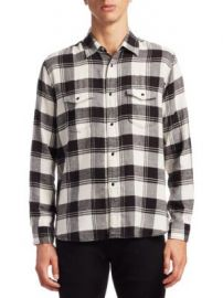 SAINT LAURENT - Flannel Cotton Casual Button-Down Shirt at Saks Fifth Avenue