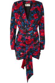 SAINT LAURENT - Floral-print silk-jacquard mini dress at Net A Porter