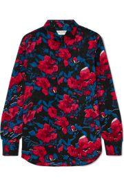 SAINT LAURENT - Floral-print silk-jacquard shirt at Net A Porter