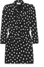 SAINT LAURENT - Pussy-bow printed crepe mini dress at Net A Porter