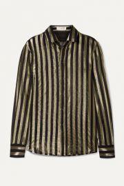 SAINT LAURENT - Striped metallic silk-blend chiffon shirt at Net A Porter