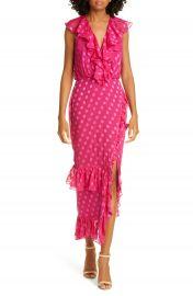 SALONI Anita Ruffle Trim Silk Burnout Dress   Nordstrom at Nordstrom