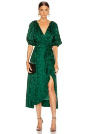 SALONI Draped Olivia Dress in Forest   FWRD at Forward