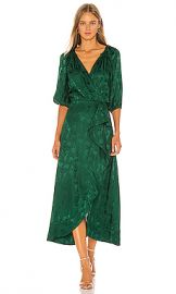 SALONI Draped Olivia Dress in Forest from Revolve com at Revolve