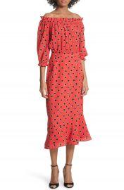 SALONI Grace Print Silk Off the Shoulder Dress at Nordstrom