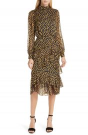 SALONI Isa Polka Dot Devor   Satin Dress at Nordstrom