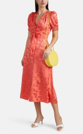 SALONI LEA BOW-FRONT FLORAL SILK JACQUARD MIDI-DRESS at Barneys