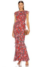 SALONI Tamara B Dress in Ruby Jungle Monkey   FWRD at Forward