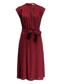 SANDRO - CONIQUE HIGH-COLLAR TIE WAIST DRESS at Saks Fifth Avenue