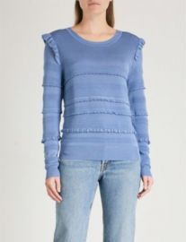 SANDRO Ruffled stretch-knit sweater at Selfridges