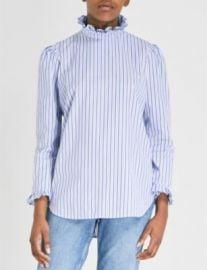 SANDRO Ruffled striped cotton blouse at Selfridges