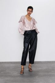 SATEEN BLOUSE WITH RUFFLE at Zara