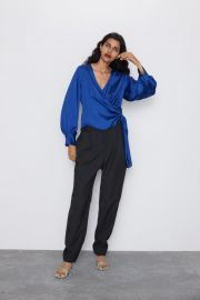 SATEEN WRAP BLOUSE at Zara