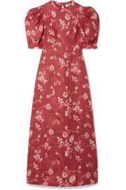 SEA - Monet floral-print ramie midi dress at Net A Porter