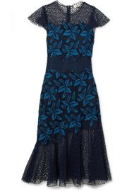 SEA   Mosaic guipure lace midi dress at Net A Porter
