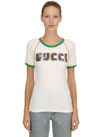 SEQUINED COTTON RIBBED JERSEY T-SHIRT at Luisaviaroma
