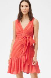 SHEER STRIPE WRAP DRESS at Rebecca Taylor