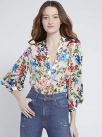 SHEILA FLORAL HENLEY TOP at Alice + Olivia