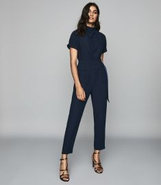 SHORT SLEEVED JUMPSUIT NAVY at Reiss