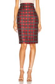 SILVIA TCHERASSI Delaney Skirt in Red   Grey Check   FWRD at Forward