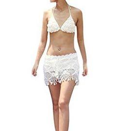 SJINC Women s Beach Cover Ups Crochet Fringe Hem See Through Swimwear Mini Skirt at Amazon