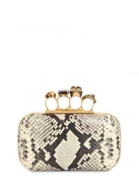 SKULL RING PYTHON PRINT LEATHER CLUTCH at Luisaviaroma