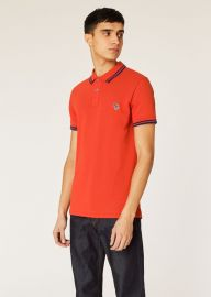SLIM-FIT ORANGE ZEBRA POLO SHIRT WITH NAVY TIPPING at Paul Smith
