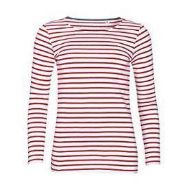 SOLS Womens Ladies Marine Long Sleeve Stripe T-Shirt at Amazon