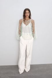 SPARKLY SEMI-SHEER TOP at Zara