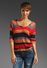 SPLENDID Barcelona Stripe Top in Terra Cotta - Stripes at Revolve
