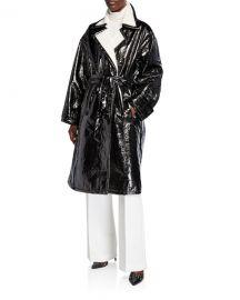 STAND Erica Patent Coat w  Faux Fur Trim at Neiman Marcus