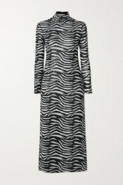 STAUD - Brae zebra-print stretch-mesh turtleneck midi dress at Net A Porter
