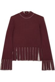 STAUD - Mika cropped fringed stretch-knit top at Net A Porter