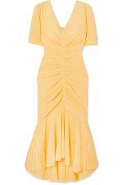 STAUD - Panier asymmetric ruched gingham stretch-seersucker dress at Net A Porter
