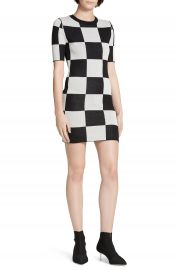 STAUD Omar  x27 s Checkerboard Knit Dress   Nordstrom at Nordstrom