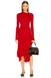 STELLA MCCARTNEY HANDKERCHIEF HEM LONG SLEEVE MIDI DRESS at Forward