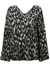 STELLA MCCARTNEY TEXTURED LEOPARD PRINT SWEATER - BLACK at Farfetch