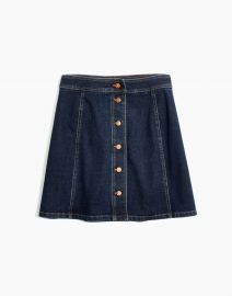 STRETCH DENIM A-LINE MINI SKIRT: BUTTON-FRONT EDITION at Madewell