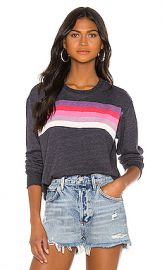 SUNDRY Crop Blouson Sweatshirt in Navy from Revolve com at Revolve