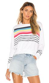 SUNDRY Crop Blouson Sweatshirt in White from Revolve com at Revolve
