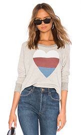 SUNDRY Heart Raglan Sweatshirt in Heather Grey from Revolve com at Revolve