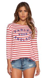 SUNDRY Parlez Vous Boat Neck Long Sleeve in Cherry at Revolve