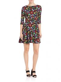 SUNO Stretch-Silk Floral Fit-andamp-Flare Dress at Saks Fifth Avenue