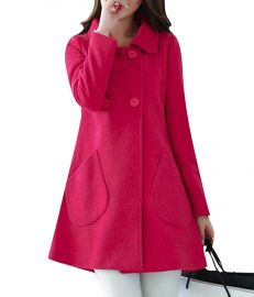 SYTX Womens Winter Warm Double Breasted A-Line Swing Wool Trench Pea Coats at Amazon
