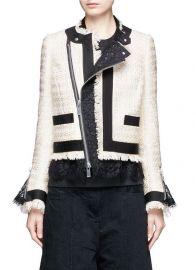 Sacai Guipure Lace Frayed Summer Tweed Jacket at Lane Crawford