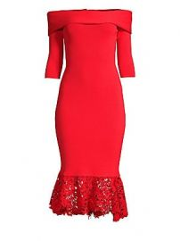Sachin  amp  Babi - Relais Off-The-Shoulder Lace-Hem Dress at Saks Fifth Avenue