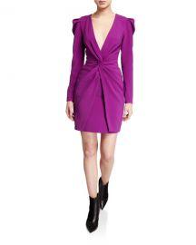 Sachin  amp  Babi Agnes Plunge V-Neck Long-Sleeve Twist-Front Mutton Dress at Neiman Marcus